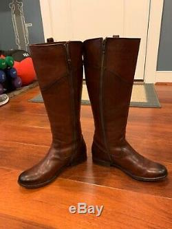 Frye Melissa Button Tab Womens Cognac Tall Leather Boots 6.5 EXTENDED CALF