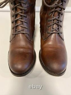 Frye Melissa Riding Lace Up Brown Leather Boots Womens Size 8 B