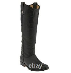 Frye Size 8.5'Melissa Button' Riding Boot Black Knee High Leather $370 77167