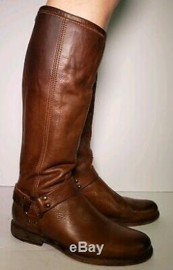 Frye Women's Phillp Harness Brown Leather Riding Tall Boots! Size 9