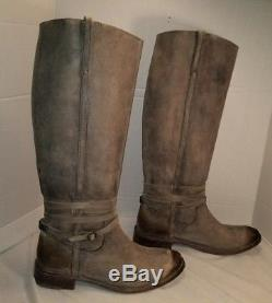 Frye Women's Stone Leather Shirley Plate Riding Boots Woman's Size 10