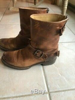 Frye Womens 7.5 B Veronica Short Distressed Leather Mid Pull On Flat Boots BROWN