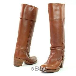 Frye Womens Size 6.5 B Brown Leather Boots Tall Campus Cuff Riding Heels 8515
