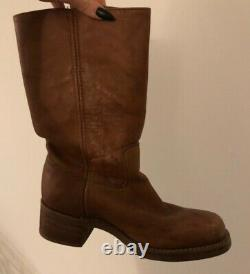 Frye tall boot Campus fashion 14L women's size 9 leather saddle tan lightly worn