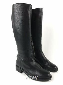 GUCCI $1,095 Black Maud Leather Knee High Riding Boots 353761 Size 37.5 US 7.5