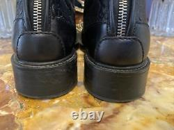 GUCCI'Maud' Black Leather Guccissima Riding Boots Size 8 38.5 RETAIL $1,100