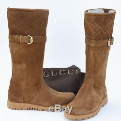 GUCCI New sz 38.5 G 9 Designer GG Guccissima Riding Womens Shoes Boots Brown