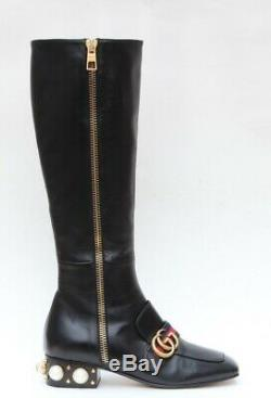 GUCCI Peyton Leather GG Marmont Riding Knee High Boots Sz 36.5/US 6.5