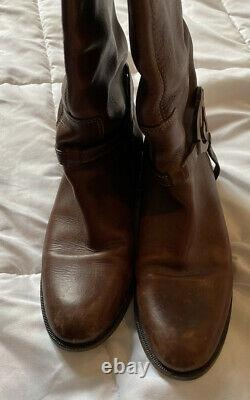 GUCCI brown leather GG logo harness flat tall riding boot shoe 8.5 gucci boots