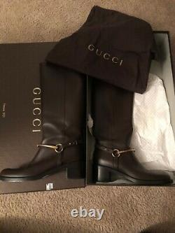 GUCCI lifford TESS Brown Cocoa Leather Gold Horsebit Tall Size 38 8 Buckle