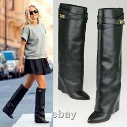 Givenchy Women's Sz 38 US 8 Shark Fold-Over Black Tall Leather Riding Boots Box
