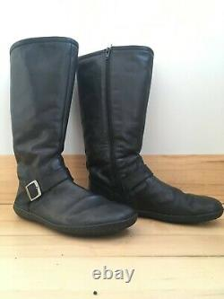 Groundies black leather barefoot riding boots, EU40, US9, wool lining