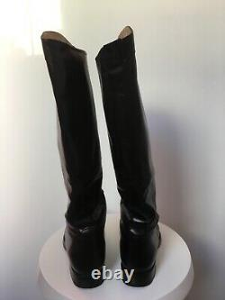 Gucci Black Leather Lace Up Boulanger Equestrian Knee Boots Size 36 (297460)