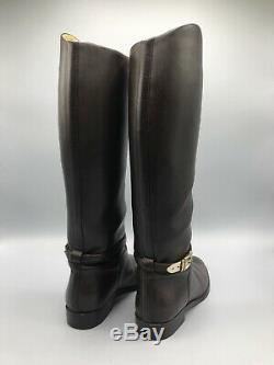 Gucci Knee High Riding Boots Womens Size 4.5 UK 37.5 EUR Brown Leather Buckle
