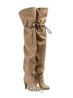 Gucci Leather-trimmed coated-canvas knee boots size 39