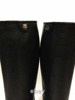 Gucci Piuma Lux Energy Riding Tall Boots Black Leather -us Size 7.5 -new