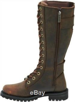 HARLEY-DAVIDSON FOOTWEAR Women's Belhaven Brown Tall Leather Riding Boots D87083
