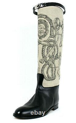 HERMES Toile DELLA CAVALLERIA Black Leather JUMPING Riding Boots 41 NEW