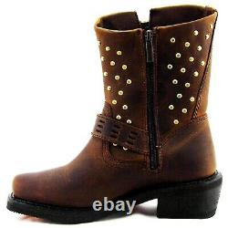 Harley-Davidson Shirley Ladies Studded Buckle Zip Square Boots D83715 Size 8M