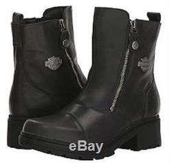 Harley-Davidson Women's Amherst Motorcycle Riding Black Leather Boots D84236