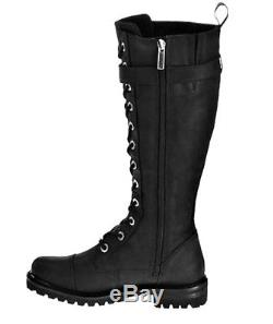 Harley-Davidson Women's Savannah 14 Tall Lace Black Leather Riding Boots D81489