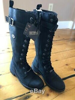 Harley-Davidson Women's Savannah SIZE 9 Lace Black Leather Riding Boots D81489