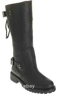 Harley-Davidson Womens Alexa Back Lace Black Leather Motorcycle Boots D85167