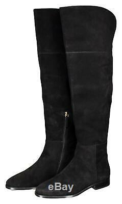 J Crew Women's Over The Knee Suede Troy Boots Riding Boots 8 K2741 Black