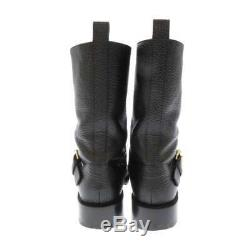 LOUIS VUITTON Fast Ride Engineer Boots Calf Leather Black Women's Size 38 1/2