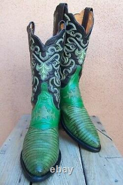 LUCCHESE 1883 Womens Cowboy Western Boot Exotic Green Teju Lizard Riding Size 8B