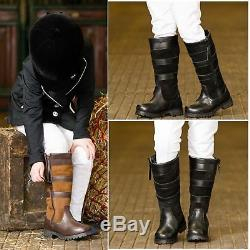 Ladies Kids Horse Riding Long Waterproof Leather Walking Outdoor Boots All Sizes