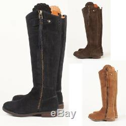 Ladies Suede Tall Country Full Zipped Riding Boot Rydale Women's Knee High Boots
