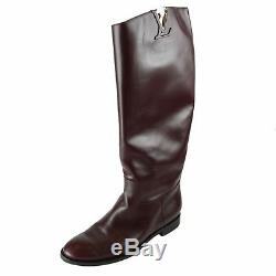 Louis Vuitton Women Dark Red Wine Leather High Pull-On Ridding Boots US 9 EU 39