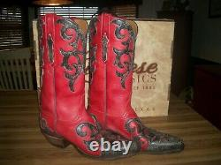 Lucchese Classic Ladies western boots GC9021 54 size 7B CUSTOM Red/Black Inlay