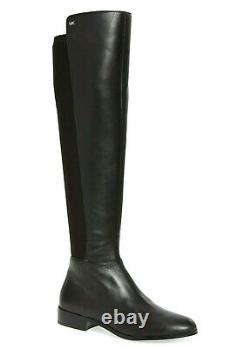 MICHAEL KORS Bromley Women's Stretch Leather Knee High Flat Boots Black Size 9