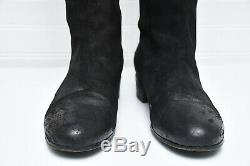 Marsell Womens Made in Italy Knee Length Tall Black Suede Leather Boots Sz 39