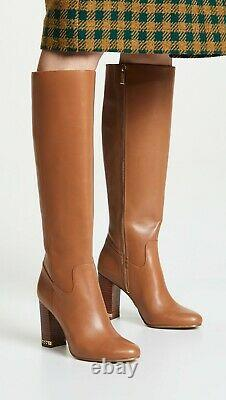 Michael Kors Leather Knee High Tall Stacked Walker Boots Size 5.5