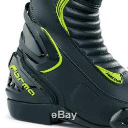 Motorcycle boots Forma Freccia sports black hi-vis neon track riding racing