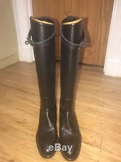 NEW Authentic Hermes Kelly Women Black Calfskin Jumping Boots SZ 36.5 MSRP$2825