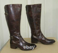 NEW BORN Gibb Knee High TAN Leather Riding Boot/Side Zip Size 9 M/WC Wide Calf