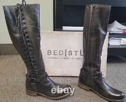 NEW Bed Stu Burnley Lace-Up Taupe Dip Dye leather Boots Size 8 Knee High