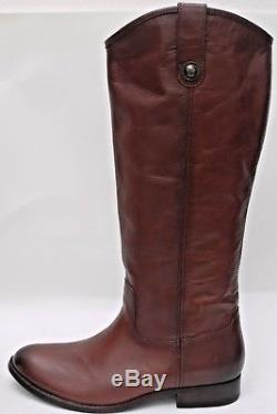NEW FRYE Melissa Button Redwood Vintage Leather Boots Knee High Tall Brown women