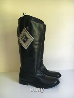 NEW Frye Sz 7 Button Melissa Boots Black Riding Tall $458 Leather Pull
