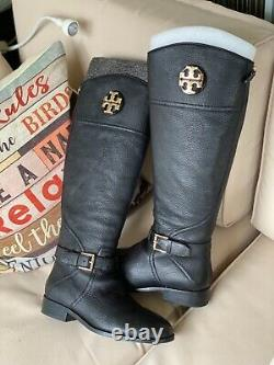NEW Tory Burch Size 7M Black Adeline 20mm Tumbled Leather Riding Boots-$498