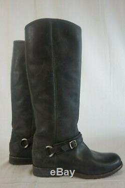 NEW Women's FRYE Black Phillip Harness Tall Leather Riding Boots Sz 8