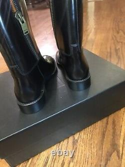 NEW Yves Saint Laurent YSL Cavaliere Black Brown Mid Calf Riding boot SIZE 36 6