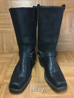 NICE FRYE Black Leather Moto Boots Womens SZ 8.5 77300 Harness Riding Cowgirl