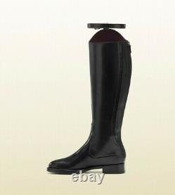NWT SIZE 6 BRAND NEW GUCCI Black Victoria Equestrian Leather Riding Boots SHOES