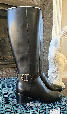 NWT Tory Burch Women's Marsden 50MM Calf Leather Tall Riding Boots Black Size 8M