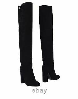 New $1695 Christian Dior Suede Calfskin Over The Knee Boots Black 37.5 / 7.5 Us
